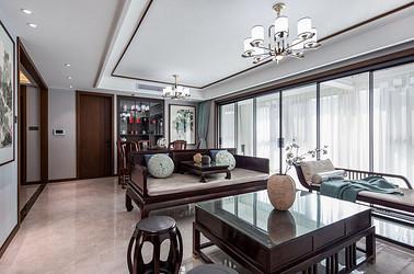 新中式风格-香溢紫郡143平米-四室两厅装修案例