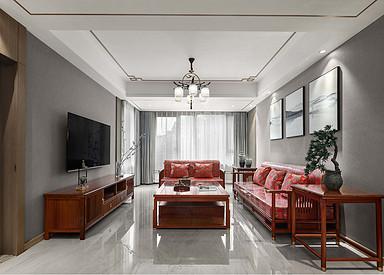 新中式-苏建名都城125平-三室两厅一卫-装修案例