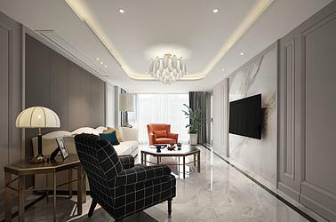 美式轻奢-万濠山庄140平米-三室两厅装修案例