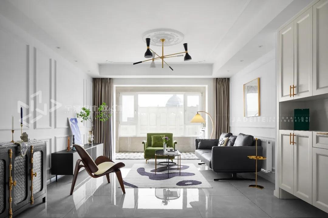 现代法式混搭-120平-两室两厅-老房翻新装修实景效果图