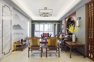 新中式风格-绿地新都会178平米-三室两厅装修案例