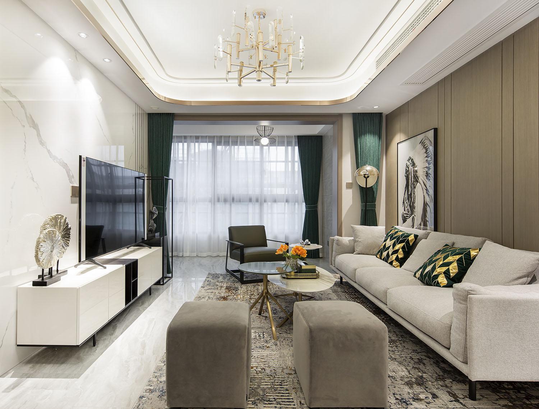 通州湾样板间 109平米装修设计  三室两厅 现代简约