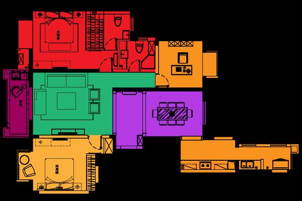 华贵典雅与时尚现代—万达广场装修-两室两厅-新古典