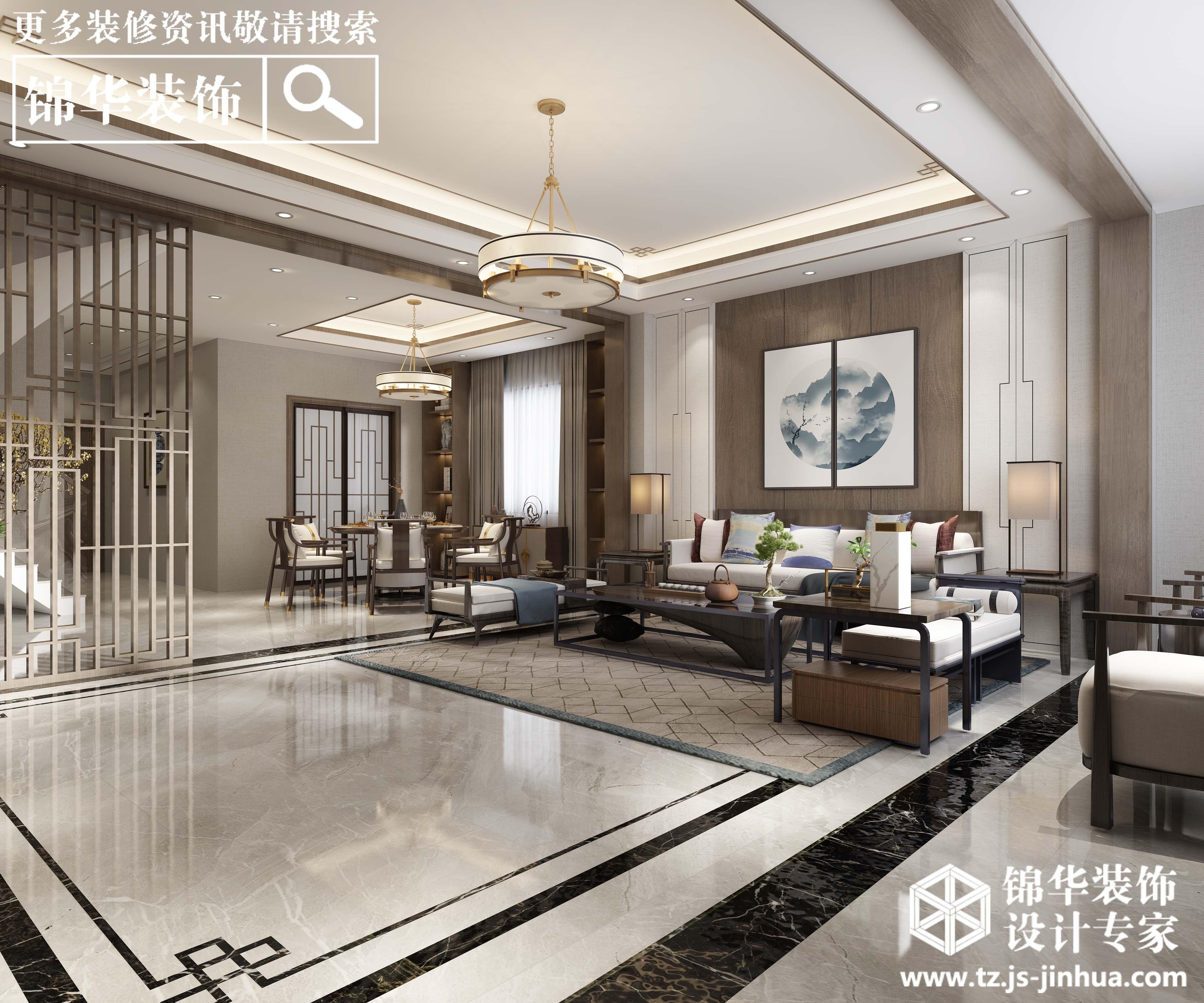 金通玉兰园-新中式风格-450平别墅-半包造价30万