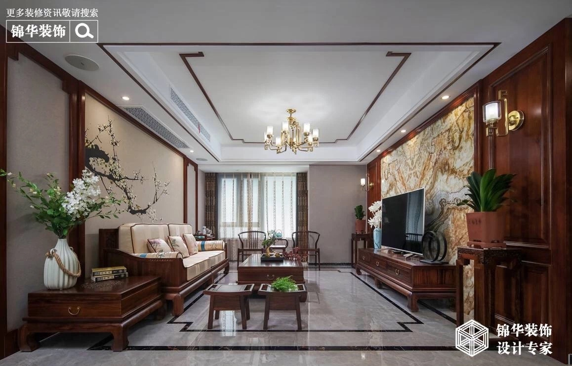 新中式风格-三室两厅-128平-实景案例