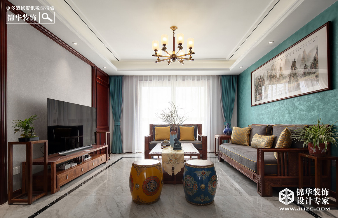 新中式-锦绣珑湾-三室两厅-125平米-实景案例