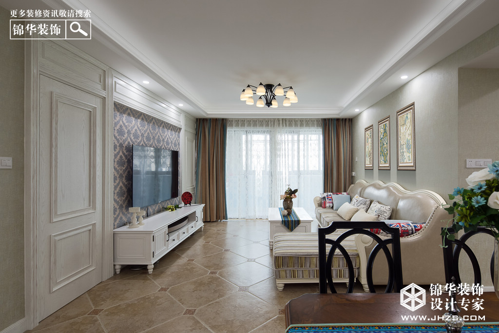 简美风格-中天御苑-三室两厅-123平米-实景效果图