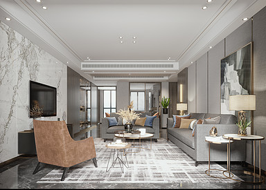中铁溪源-港式风格-三室两厅-装修效果图
