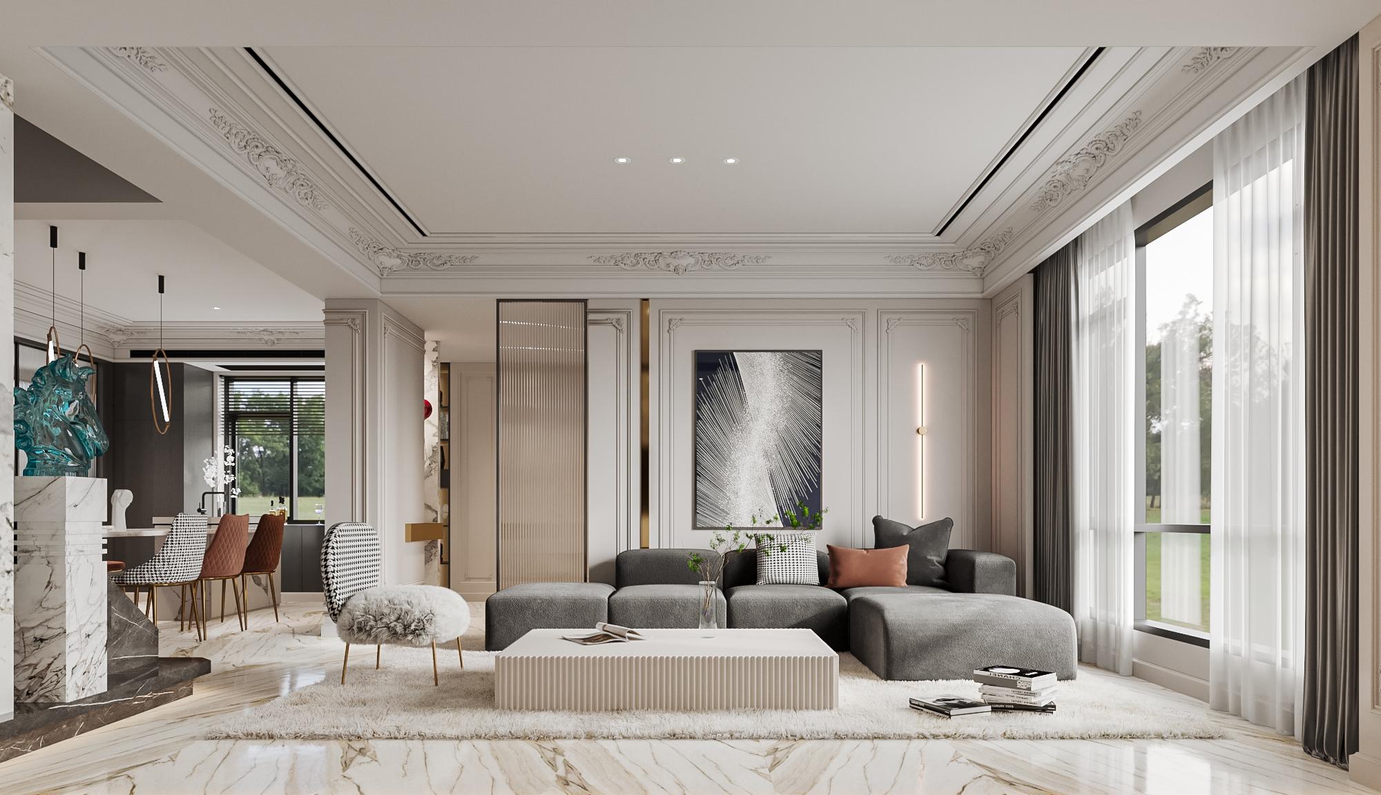 文旅和院-220㎡-法式轻奢-别墅装修