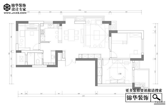 嘉鸿花园165平现代风实景案例装修-两室两厅-现代简约