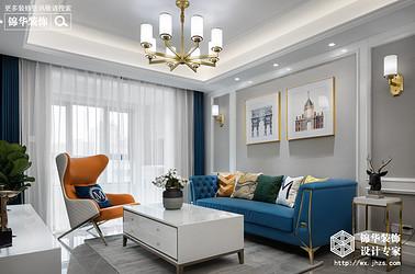 美式轻奢风格-三室两厅-104平米-装修实景效果图