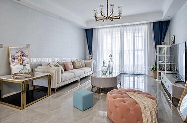 美式风格-金科廊桥水岸-140平-三室两厅-装修效果实景图