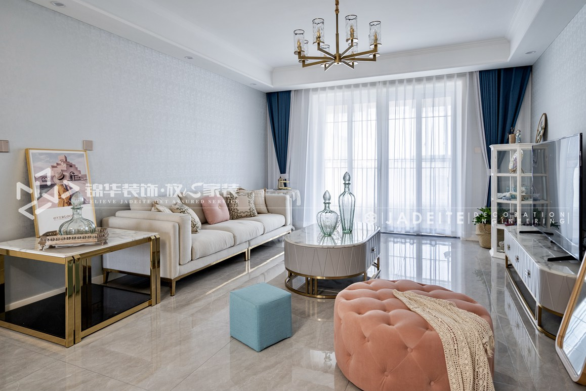 美式风格-金科廊桥水岸-140平-三室两厅-装修实景效果图