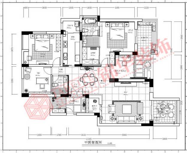 现代欧风·东方王谢装修-三室两厅-现代简约