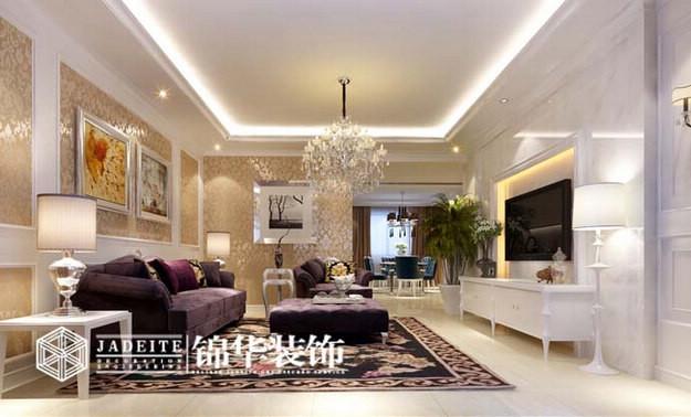 安静典雅装修-三室两厅装修效果图-简欧风格