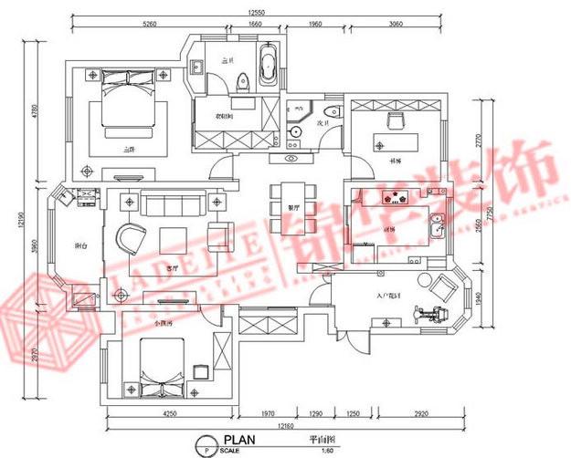 紫金英郡装修-三室两厅-现代简约