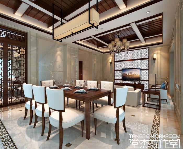 碧桂园325平新中式风格效果图装修-别墅-新中式
