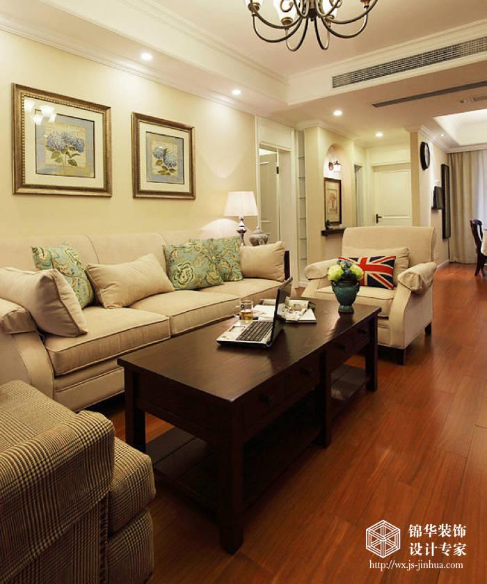 尚锦城90平美式简约风格实景图装修 两室两厅装修效果图 美式乡村 田高清图片