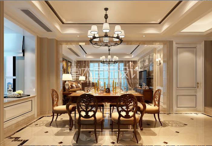 天元世家189平新古典风格别墅效果图装修-别墅-新古典