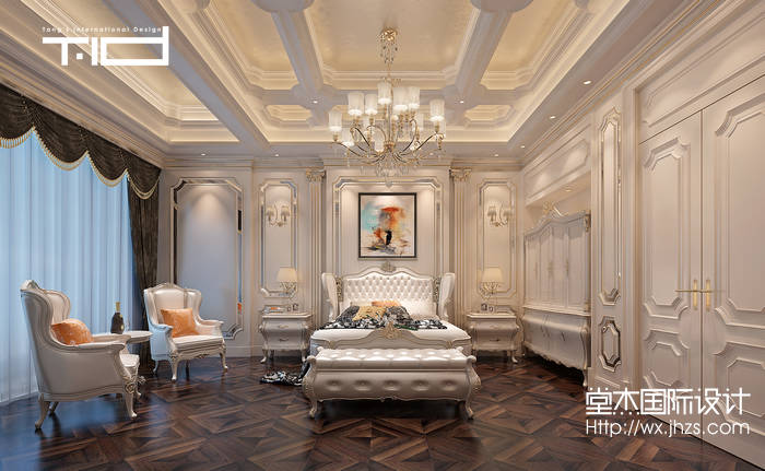 水岸新都500平新古典风格效果图装修-别墅-新古典