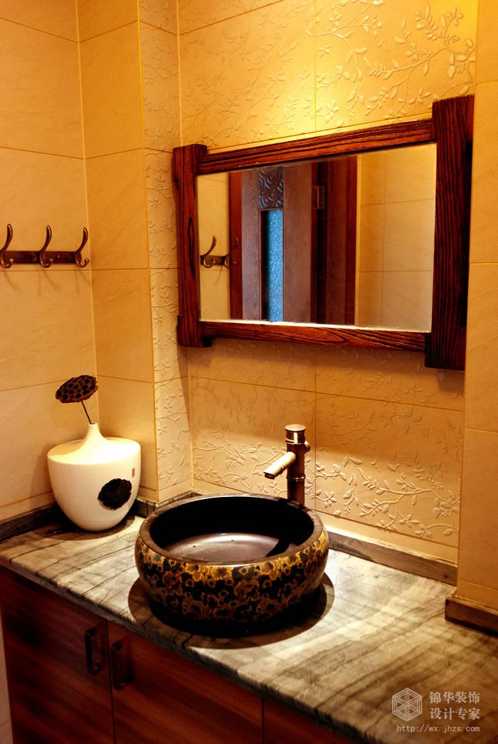 混搭风格-百大奥澜半岛-三室两厅-128平-卫生间-装修效果实景图
