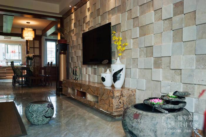 混搭风格-百大奥澜半岛-三室两厅-128平-客厅-装修效果实景图