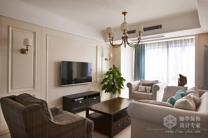 时代上河121平三室两厅两卫美式风格实景图装修-三室两厅装修效果图