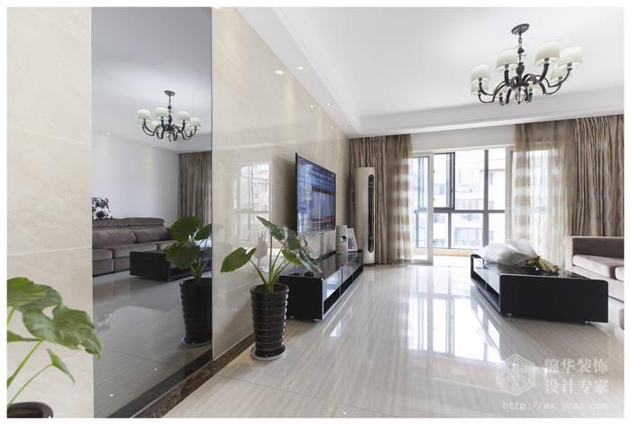 现代简约风格-复地公园城邦-三室两厅-130平米-客厅-装修实景效果图