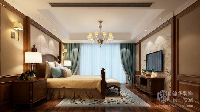 玉兰花园141平三房两卫两厅美式风格效果图装修-三室两厅-美式田园