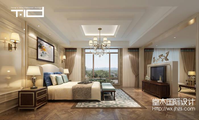 美式风格-绿地香颂-别墅-卧室-装修效果图