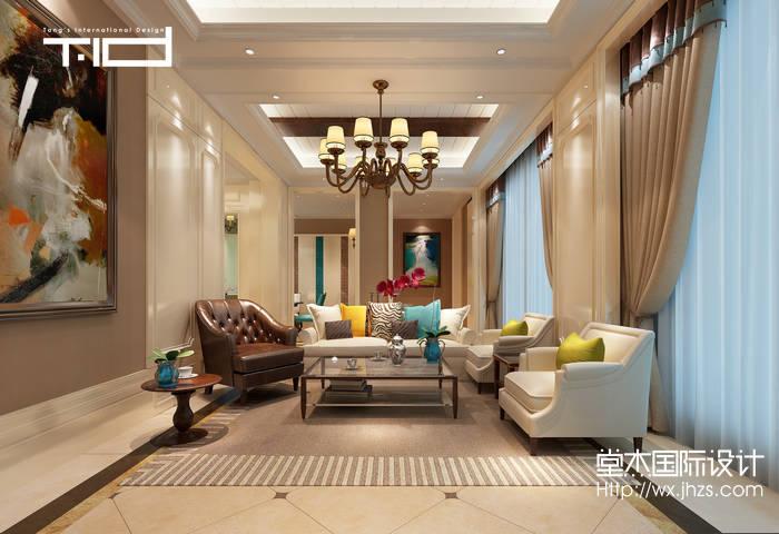 美式风格-绿地香颂-别墅-客厅-装修效果图