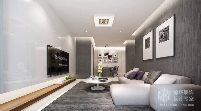 百乐时代广场93平两室两厅一卫现代简约风格效果图装修 两室两厅装