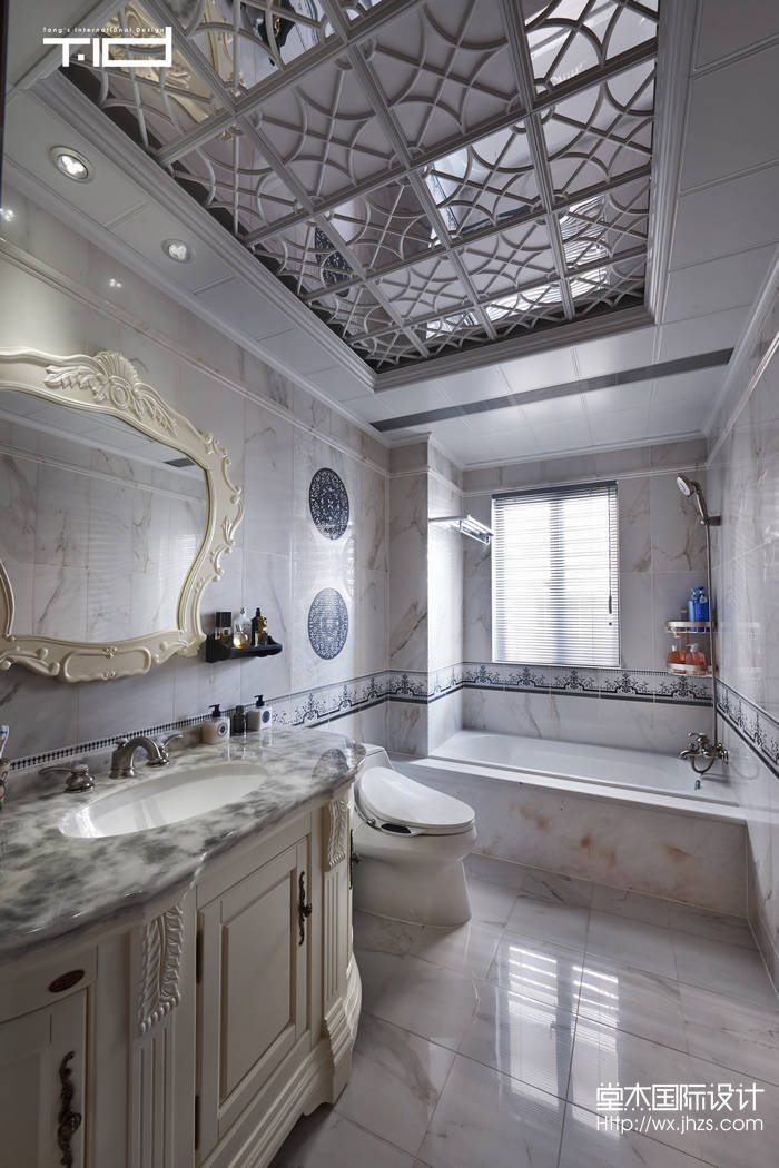 京梁合235平美式风格实景样板间装修 大户型 新古典风格 无锡锦华装高清图片
