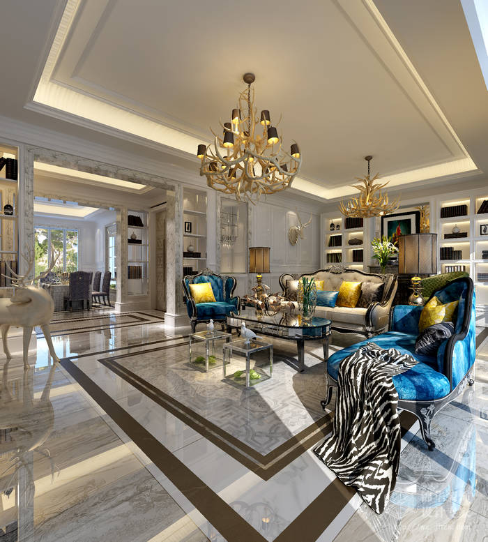 欧风新天地123平三室两厅现代简约风格效果图装修图片