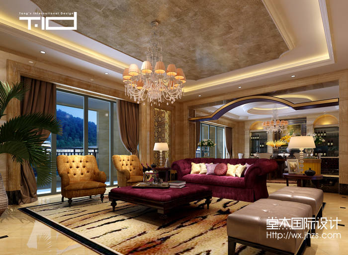 欧式风格-半山一号-别墅-1000平-装修效果图