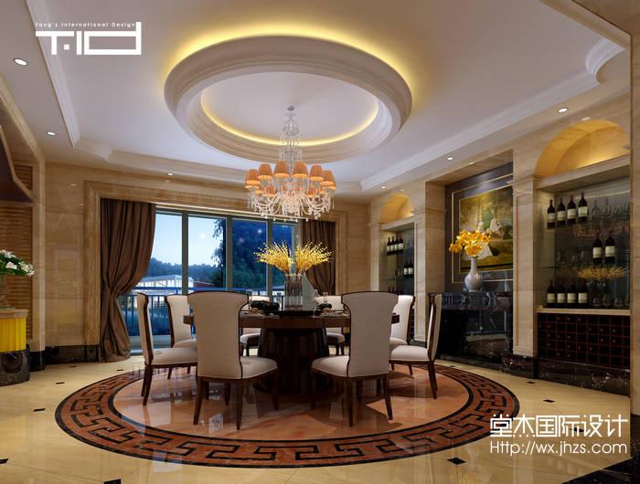 欧式风格-半山一号-别墅-1000平-餐厅-装修效果图