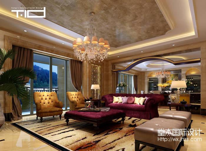 欧式风格-半山一号-别墅-1000平-客厅-装修效果图