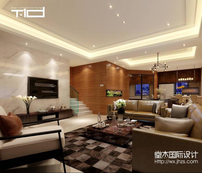 混搭风格-国联恒园-大户型-260平-客厅-装修效果图