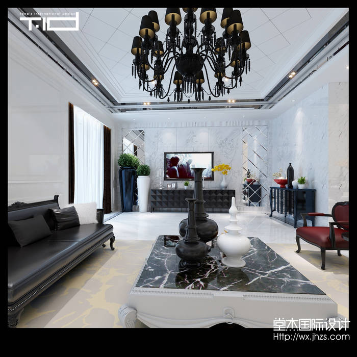 九龙仓玺园350平混搭风格效果图装修-别墅-混搭