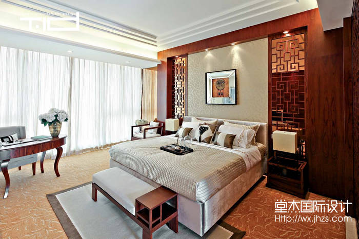 新中式风格-龙湖滟澜山-别墅-350平-卧室-装修效果图