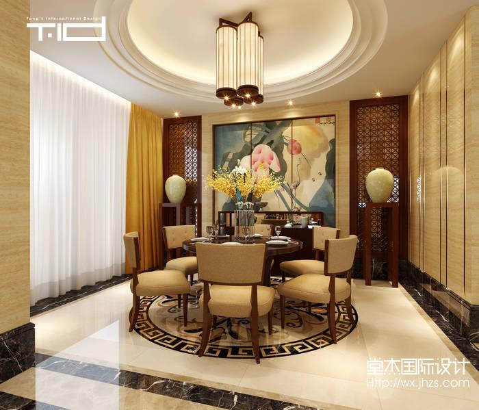 新中式风格-龙湖滟澜山-别墅-350平-餐厅-装修效果图