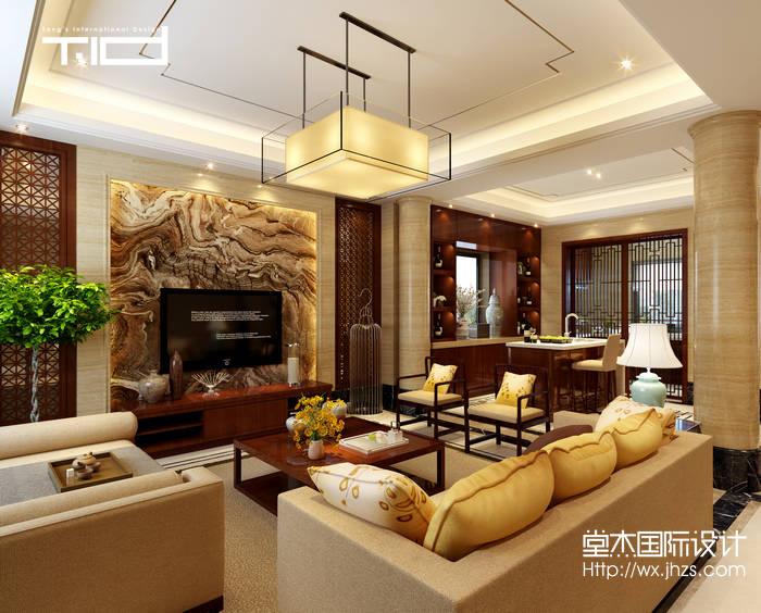 新中式风格-龙湖滟澜山-别墅-350平-客厅-装修效果图