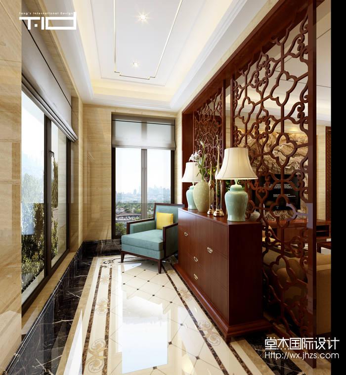 新中式风格-龙湖滟澜山-别墅-350平-玄关-装修效果图