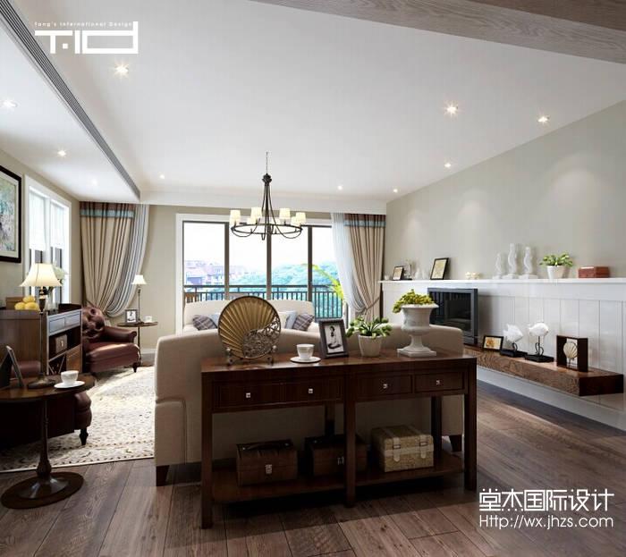 美式风格-西水东-大户型-203平-客厅-装修效果图