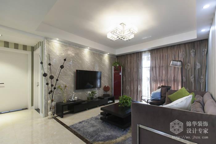 现代简约风格-绿地波士顿-三室两厅-105平米-客厅-装修实景效果图