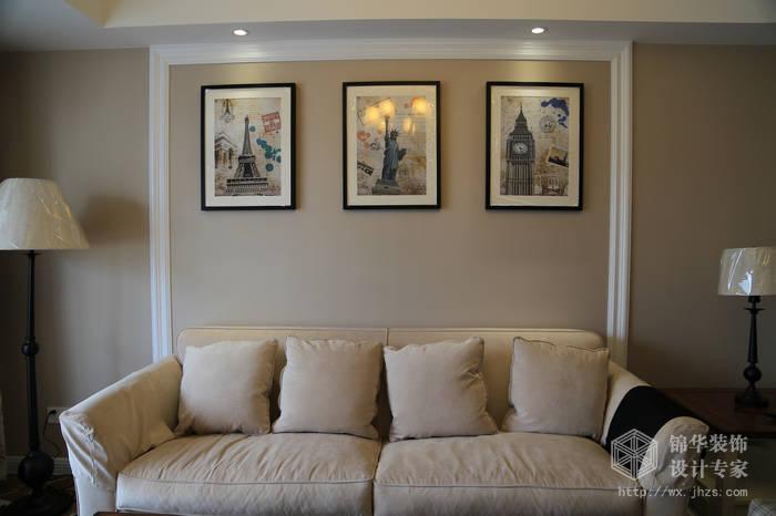 简约美式风格-大丁佳苑-两室两厅-95平-客厅-装修实景效果图