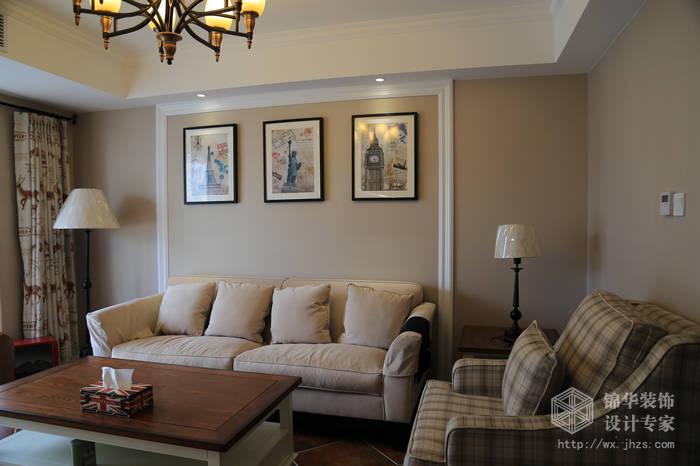 大丁佳苑95平两室两厅简约美式风格实景样板间装修-两室两厅-美式田园