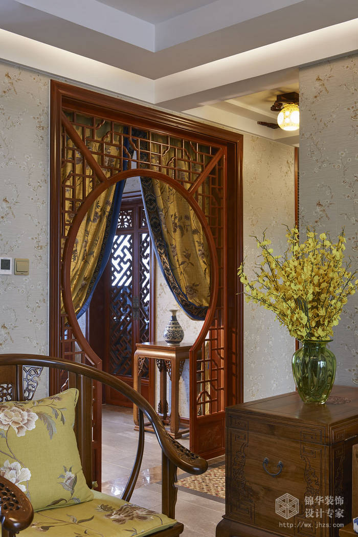 理想城市中式风格实景图装修-三室两厅-新中式