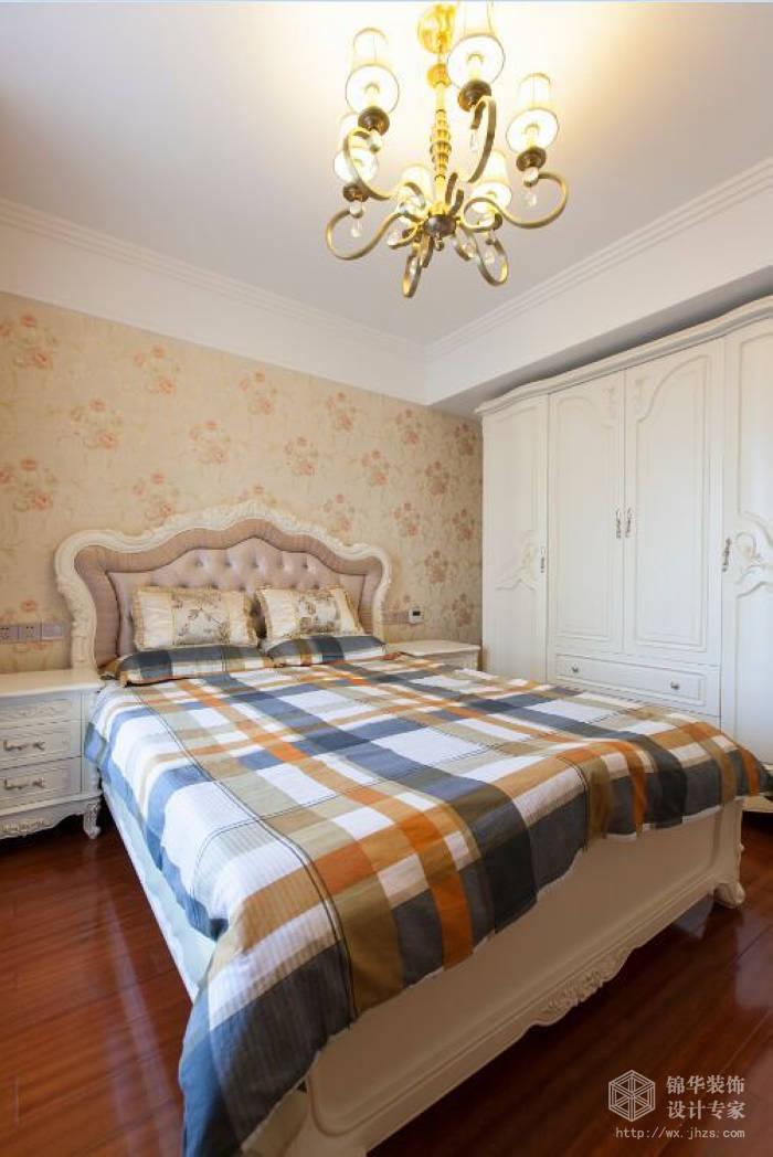 简欧风格-惠山万达华府-三室两厅-128平-卧室-装修效果实景图