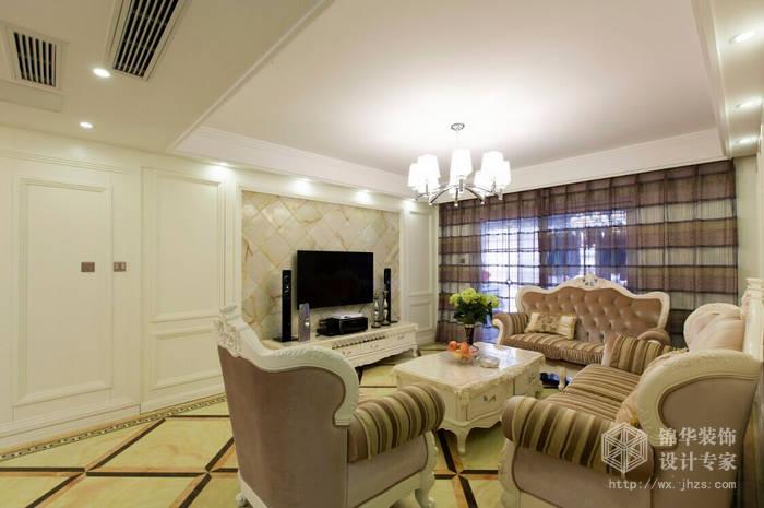 简欧风格-惠山万达华府-三室两厅-128平-客厅-装修效果实景图